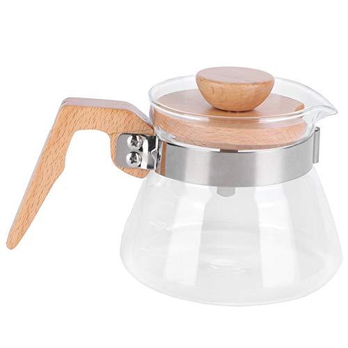 Les-Theresa 400ml Tetera de vidrio Cafetera Olla Hervidor de agua con mango de madera Accesorio de cocina
