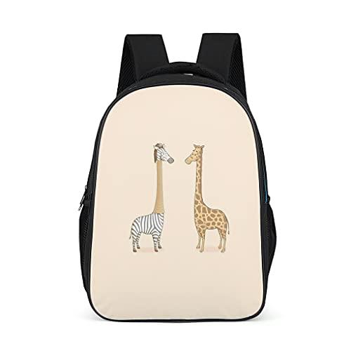 Mochila de dibujos animados con diseño de jirafa, resistente mochila de senderismo para hombre, color gris brillante, talla única
