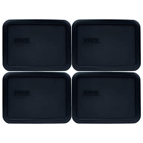 Pyrex 7210-PC Black PLastic Rectangle Replacement Storage Lid - 4 Pack