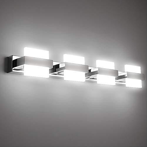 Temgin Aplique de Espejo Baño con 4 Luces LED 24W Apliques Pared Interior Luz Baño Lámpara para Sala de Maquillaje Salón Dormitorio Blanco Frío 6000K 1580LM 68CM