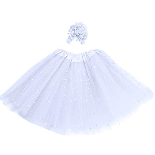 Longra rok voor meisjes, pailletten, sterren, pettiskirt, tutu voor meisjes, tule, licht, ballet, kort, meerlaags, minirok, prinsessenrok voor feestjes, dans, elastisch, rok en haarband