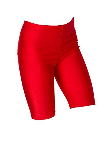 Hi-Co Pantaloncini in lycra per ragazzi e ragazze, per scuola, ciclismo, ginnastica, sport, educazione fisica e danza Red 9-10 Anni