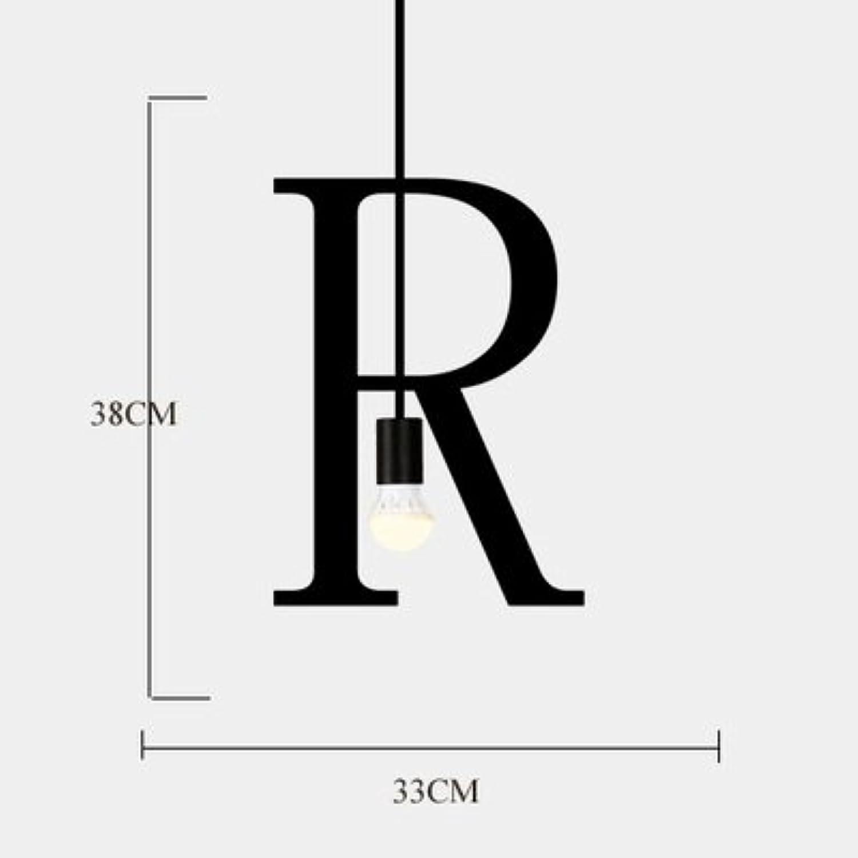 Luckyfree Einfache Kunst Buchstaben Pendelleuchte Zimmer Bar Cafe Restaurant Küche Flur Lampen Deckenleuchte Kronleuchter, R + 3 Wled-warmes Licht