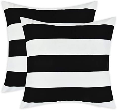 Set of 2 Decorative Pillow Covers Square Stripe Pillow Covers Modern Farmhouse Cushion Case product image