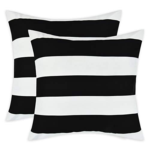 Alishomtll Set di 2 federe per cuscino a righe, 50 x 50 cm, per divano, camera da letto, colore: bianco e nero