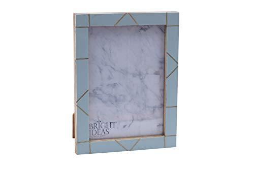 CGB Giftware blauwe hars en messing Zig Zag patroon ontwerp 5'' x 7'' tafelblad en muur foto fotolijst van heldere ideeën | Wordt geleverd Gift Boxed GB04641