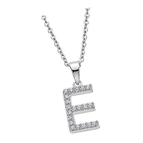 Lotus Silver Collar de plata con letra E LP1958-1/E con circonitas, plata 925 JLP1958-1-E