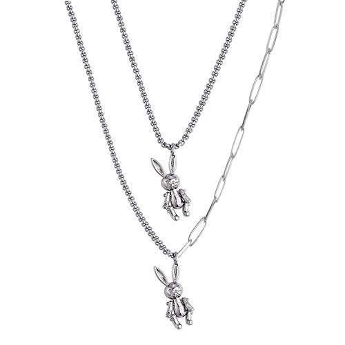 Simin Punk Kette Halskette, Anhänger Halskette Multilayer Punk kette Einfache Kette Halskette Lock Kette Legierung Vorhängeschloss Punk Sperren Anhänger Halskette für Damen