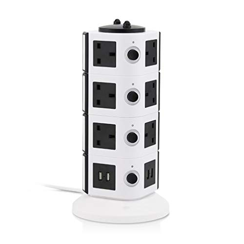 JUNPE Regleta USB Carga Rapida Extensión De Energía Torre Torre Surge Protector...