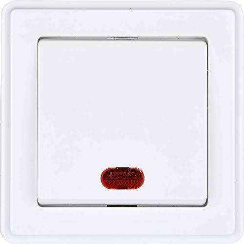 HEITECH Lichtschalter mit Kontrollleuchte in weiß - Unterputz Ein-/Ausschalter 250V AC, 10A, IP20 inkl Rahmen, Unterputz-Einsatz & Abdeckung - Schalter beleuchtet, Unterputzschalter, Ausschalter
