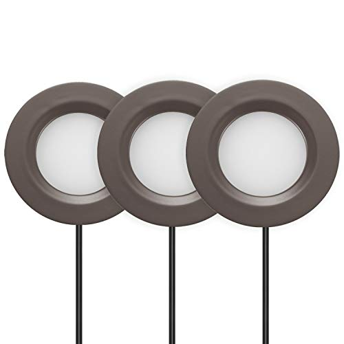 GetInLight Dimmable LED Puck Lights Kit, Recessed or Surface Mount Design, Soft White 3000K, 12V, 2W (6W Total, 30W Equivalent), Bronze Finished, ETL Listed, (Pack of 3), IN-0102-3-BZ