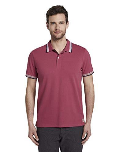 TOM TAILOR Herren Poloshirts Poloshirt mit Kontrastblende Wine Rose pink,XL