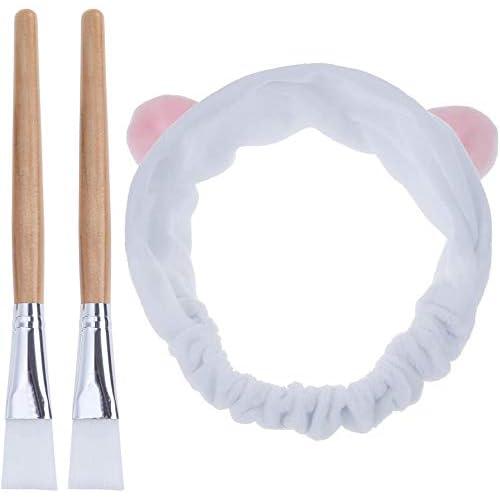 Lictin Pennello Maschera Viso - 2 Spazzola Maschera + 1 Bella Fascia per Capelli per Maschera Facciale, Maschera per Gli Occhi