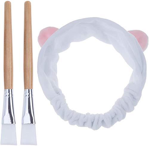 Scopri offerta per Lictin Pennello Maschera Viso - 2 Spazzola Maschera + 1 Bella Fascia per Capelli per Maschera Facciale Maschera per Gli Occhi