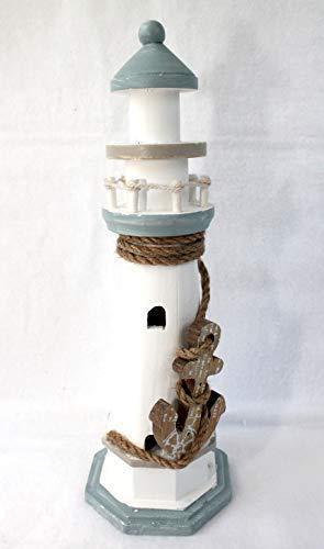 phare décoratif en bois 30cm avec ancre Blanc Bleu clair