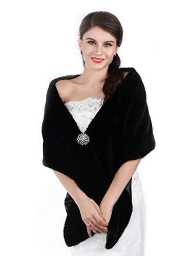 Aukmla Long Wedding Faux Fur Wraps and Shawls Wedding Bridal Stole for...