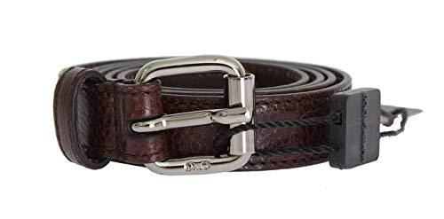Dolce & Gabbana - Cintura in pelle marrone con fibbia in argento