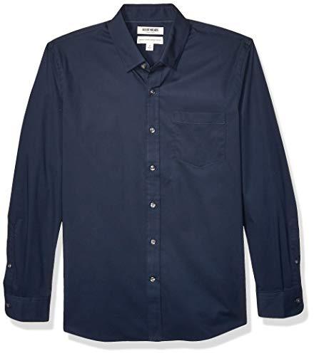 Amazon-Marke: Goodthreads Herrenhemd, langärmlig, normale Passform, Komfort-Stretch, pflegeleicht, aus Popeline, Navy, Small
