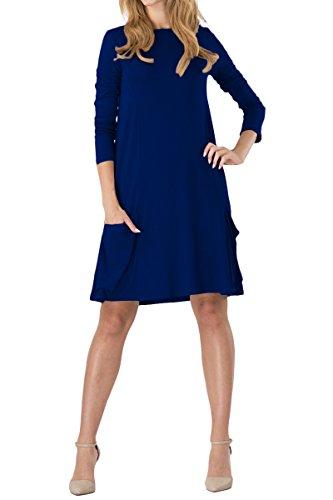 YMING  Damen Kleid für Frühling Herbst Casual Langarm Tops Rundhals Basic Tunika, 3XL, Mit Taschen-dunkelblau
