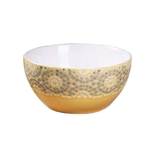 LKAIBIN Tazón de cerámica Cuenco Principal Restaurante de Escritorio Decoración Sopa de Pasta de Grano Vajilla de Alimentos y Bebidas 15.4x7.5cm para la decoración de estatuas Familiares.