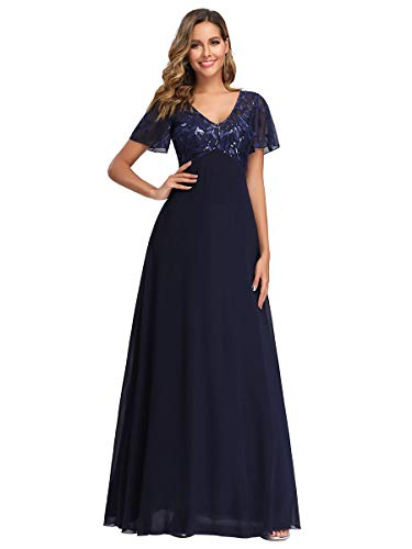 Women's Embroidered Evening Gowns Long Formal Ball Gowns Prom Dresses Navy US16