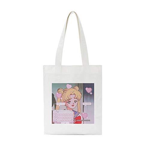 LIUYB Umhängetasche Neue Harajuku Cartoon Print Canvas Taschen College Offene Tasche Große Kapazität Handtasche Frauen Tasche (Farbe : 2244)