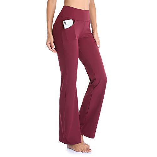 GIMDUMASA Pantalón de Yoga Mujer Pierna Ancha Salón Bootcut Leggings Alta Cintura Pantalones De Entrenamiento con Bolsillos para Pilates Fitness Yoga GI604 (Rojo Oscuro, XS)