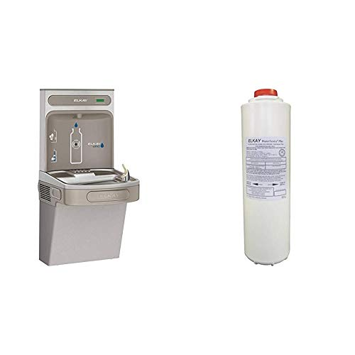 Elkay EZS8WSLK EZH2O Bottle Filling Station with Single ADA Cooler, Non-Filtered 8 GPH, Light Gray & 51300C WaterSentry Plus Replacement Filter (Bottle Fillers)