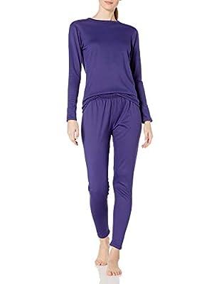 Fruit of the Loom Women's Fleece Lined Thermal Underwear Set, Deep Blue, X-Large