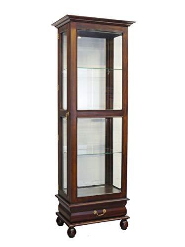Edle Glasvitrine aus Massivholz im antiken Stil | Vitrine Vitrinenschrank | 1-türig | dunkler Nussbaum-Farbton | B: 69 cm (2444)