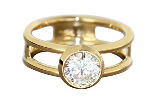 Briljant 1,1 karaat. Solitaire ring goud 750 massief gouden ring 18 kt. Dames Hobra-goud