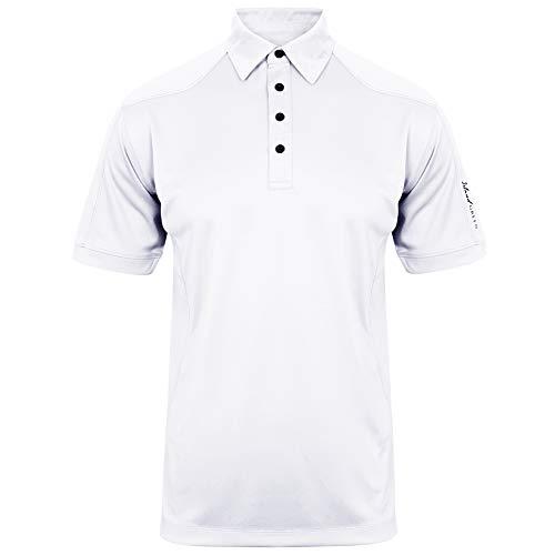 Island Green Polo de Golf para Hombre, Hombre, Camisa de Polo, IGTS1648, Blanco, S