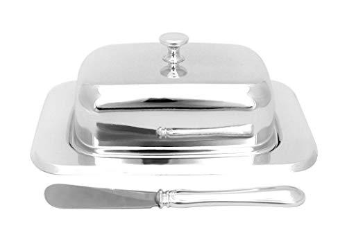 Brillibrum Design Butterdosen Set aus Metall versilbert Anlaufgeschützt Butterglocke für 250g Butter mit Buttermesser glänzend mit Glaseinsatz