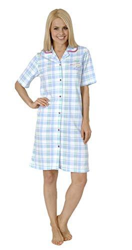 Normann Damen Nachthemd Kurzarm zum durchknöpfen in Übergrößen - 52600, Farbe:hellblau, Größe2:52/54