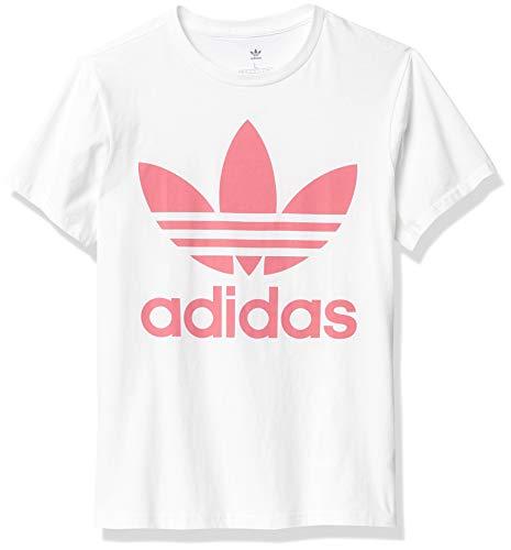 adidas Originals,unisex-youth,Trefoil Tee,White/Hazy Rose,Medium