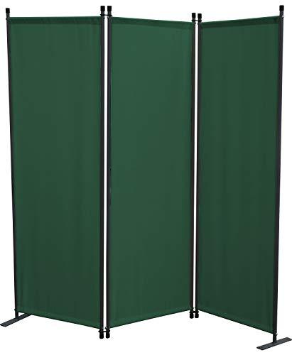 GRASEKAMP Qualität seit 1972 Stellwand 165x170 cm dreiteilig - grün - Paravent Raumteiler Trennwand Sichtschutz