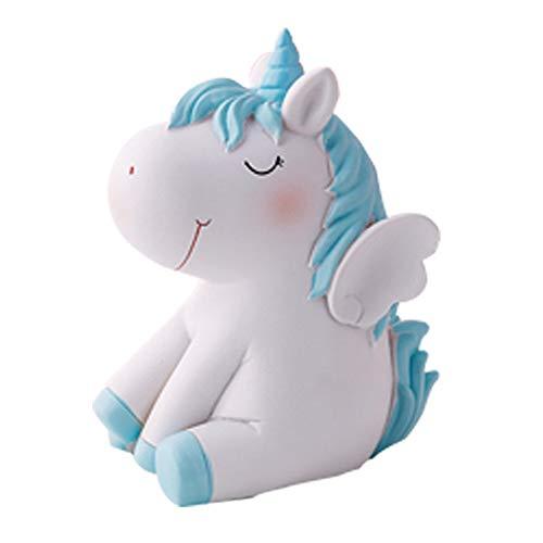 HIL Dream - Hucha de unicornio con forma de cerdito de resina para manualidades, regalo para novia, novia, regalo de cumpleaños, niña, corazón, regalo de Navidad, regalo de Año Nuevo, azul