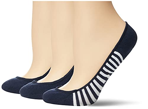 Sperry womens Padded Sole Liner Socks, 3 Pair Casual Sock, Navy, Shoe Size 5-10 US