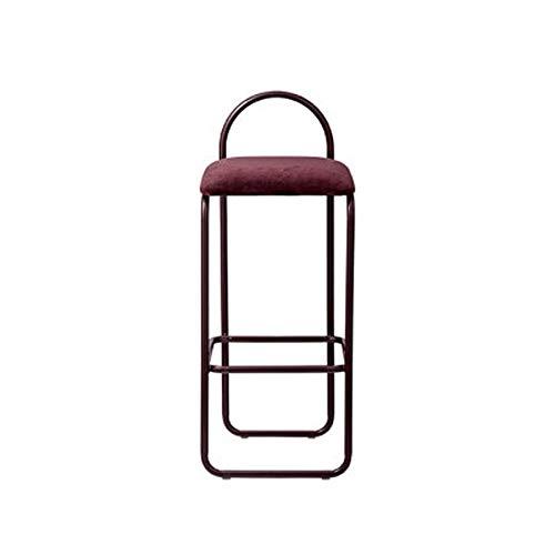 QYS Stuhl Home Zurück Make-up-Stuhl Schmiedeeisen-Metall Kaffeemaschine Sessel Mode Einfacher moderner Stab-Stuhl (Farbe: Schwarz, Dunkelgrün, Weinrot) D1114 (Color : Wine red)