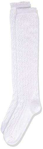 Lusana Mädchen Kinder- Trachtenkniestrumpf Lina Socken, Weiß (weiß 26), 23 (Herstellergröße: 23-26)