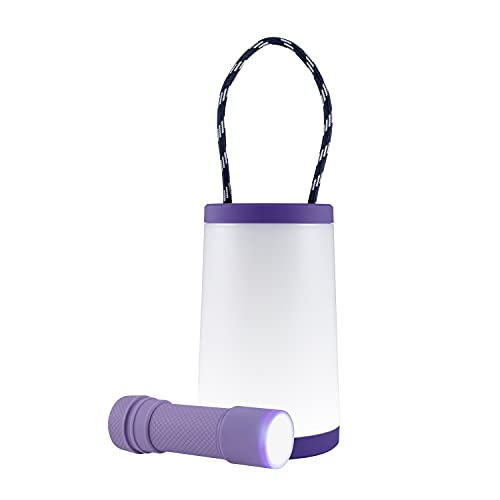 Enbrighten, Purple, 2 in 1 LED Combo Lantern, Flashlight, Task Light, Battery Operated, 200 Lumens, High/Low/Off, Table Lamp, Desk, Camping, Emergency, Storm, 57810