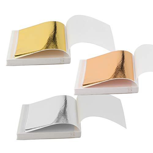 SAVITA 300 piezas de pan de oro de colores, papel de pan de oro de imitación para la producción de joyas, pasta de artesanía y decoración de muebles (3 colores)