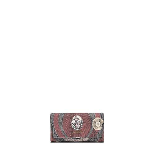 Portafoglio donna Gattinoni Planetarium Tibetan Rosso Stampa Pelle Portamonete Portacarte Portadocumenti