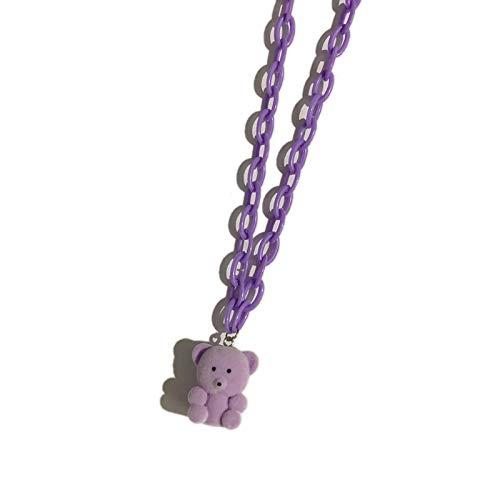 Shangwang - Collar de oso acrílico con cadena para niña, hombre, fiesta, regalo de moda, color morado