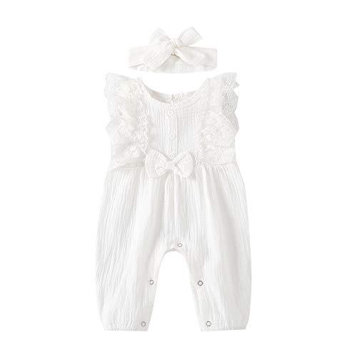 Eternali Mameluco sin mangas con volantes, para recién nacidos, con cuello redondo, de lino y algodón, con diadema, diseño floral y encaje