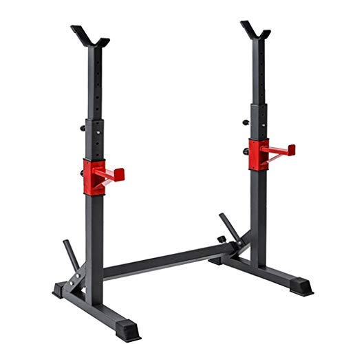 OMGYST Multi-Function Barbell Rack 550lbs Multifunctional Workout Station Adjustable Olympic Workout Bench with Squat Rack Leg Extension Preacher Curl and Weight Storage