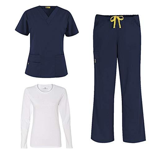 WonderWink Origins Women's Medical Uniforms Scrubs Set Bundle- 6016 Bravo V-Neck Top & 5026 Romeo Drawstring Flare Leg Pants & Marc Stevens Underscrub Tee (Navy - Large/Large)