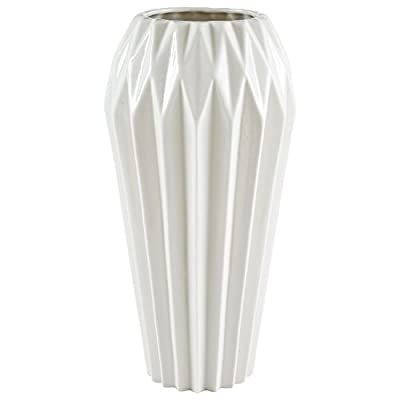 Amazon Brand – Rivet Modern Angled Stoneware Home Decor Flower Vase - 12 Inch, White