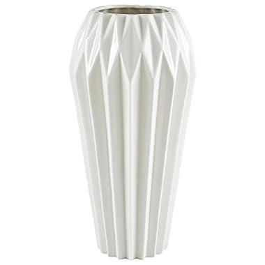 Rivet Modern Angled Stoneware Vase, 11.9  H, White