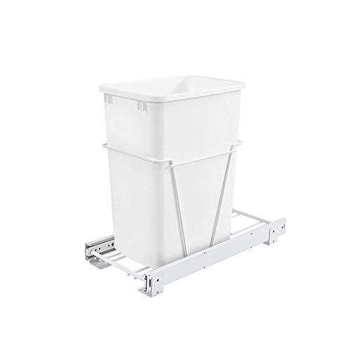 Rev-A-Shelf RV-12PB Single 35 Quart Sliding Pull Out Kitchen Cabinet Waste Bin Container, White